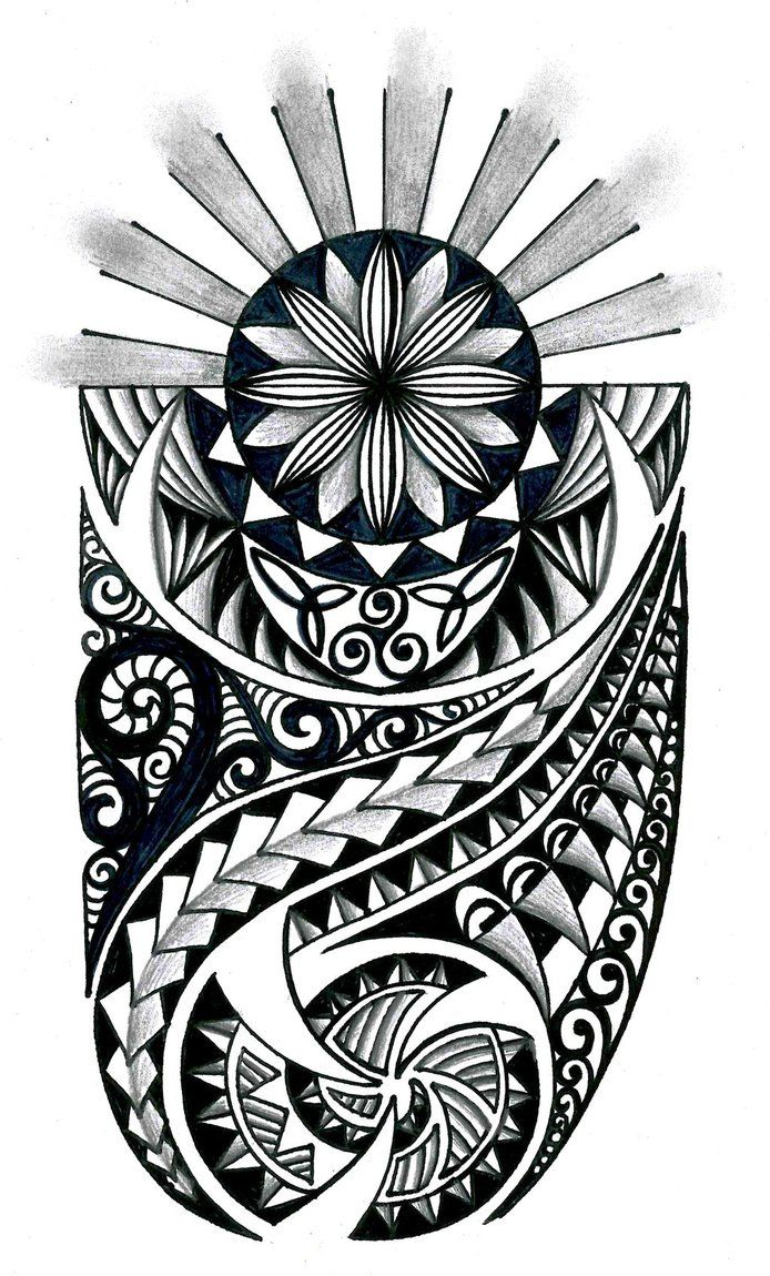 Sunrise tribal tattoo designs tribal sun - Tongan Tribal Drawings Polynesian Tribal Design With Celtic Elements By Thehoundofulster