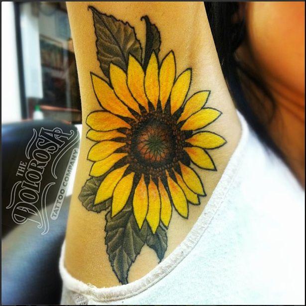 Traditional Sunflower Tattoo | Armpit Tattoo