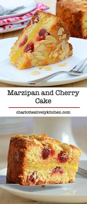 Marzipan and Cherry Cake - Delicious almond sponge with cherries and a layer of gooey marzipan in the centre.