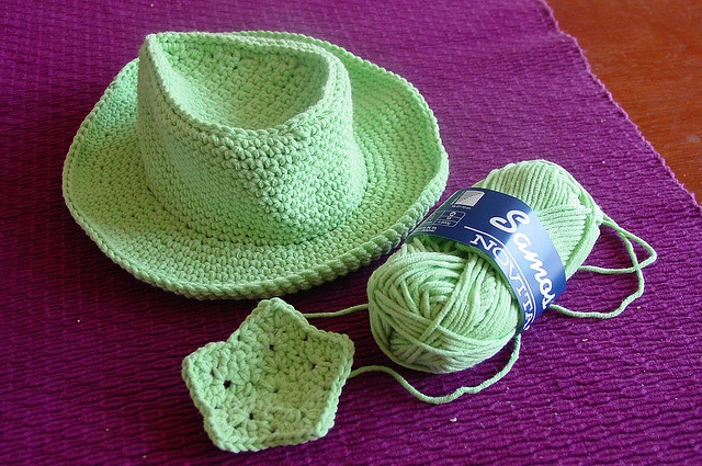 Toddler size cowboy hat crochet pattern.  Now if I can only find a good baby one...