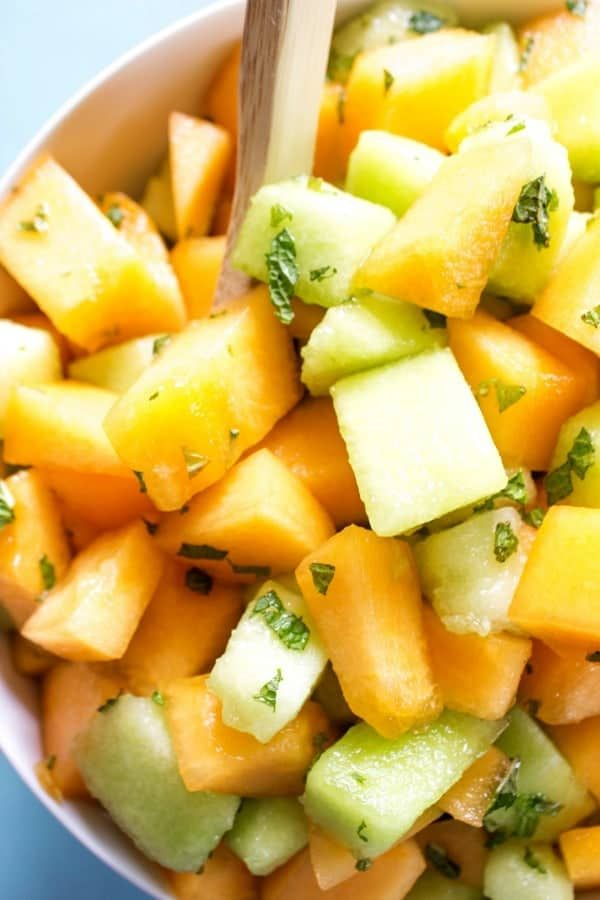 Melon Mint Fruit Salad A Dash Of Sanity Recipe Melon Recipes Summer Salads With Fruit Fruit Salad