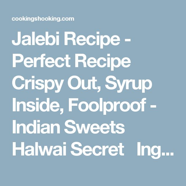 Jalebi Recipe - Perfect Recipe Crispy Out, Syrup Inside, Foolproof - Indian Sweets Halwai Secret  Ingredients Maida / Plain Flour - 1 Cup / 130g Rangkat Hydro - a pinch [because, ek chutki rangkat ki kimat tum kya jano babu!] Baking Powder - ½ Tsp Oil / Ghee - To Fry [i prefer oil] Kesar Food Color - a couple pinches Sugar - 2 Cups / 400g Cream of tartar - ¼ tsp or a couple of lemon wedges Milk - 2 tbsp kesar and nuts - to top it the finished jalebis [optional] Instructions Start by making…