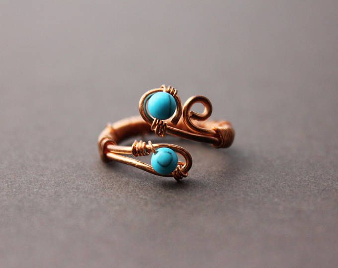 Copper wire wrapped ring, adjustable ring, turquoise gemstone beads, wire wrapped ring, copper ring