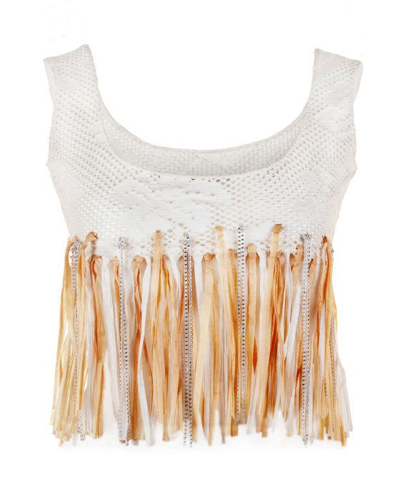 Stretch cotton net Top. Fringes in raffia and di AltaModaDonna