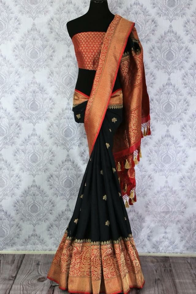 bf65826d4ee4b2 Buy classic black linen Banarasi saree with buta online in USA. Pure  Elegance Indian clothing store brings an exclusive range of Indian wedding  sarees for ...