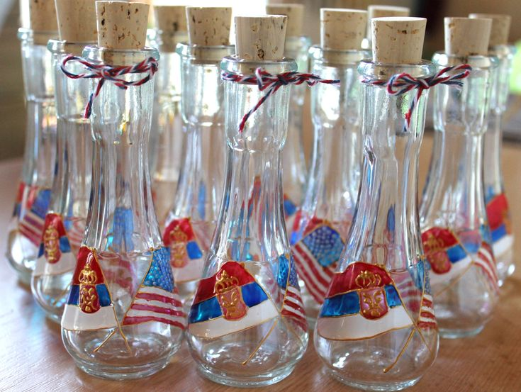 Wedding Favors, Flags- Shot Glasses for rakija and other hard liquors, Gift for Wedding guests, International, Serbian and American Wedding by GlassArtBySonja on Etsy