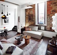 wohnungseinrichtung loft wohnzimmer neutrale farben unverputzte ziegelwand