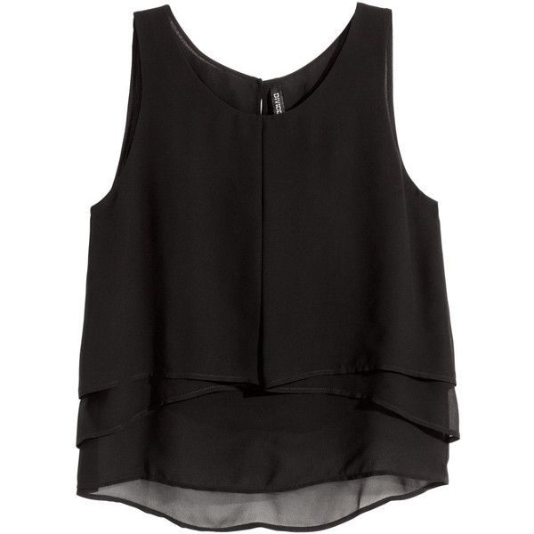 H&M Sleeveless chiffon blouse ($20) ❤ liked on Polyvore featuring tops, blouses, black, black sleeveless blouse, black sleeveless top, h&m, black button blouse and h&m tops