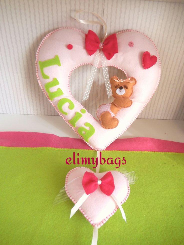 Fiocco nascita rosa a forma di cuore con orsetta che dorme♥, by Elimybags, 27,00 € su misshobby.com