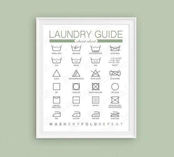 Printable Laundry Washing Symbols Laundry Room Wall Art Prints