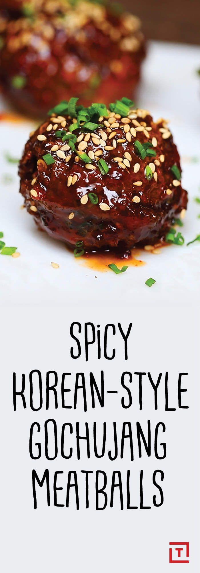 Korean Style Gochujang Meatballs. -Thrillist #SeoulFood #Foodies