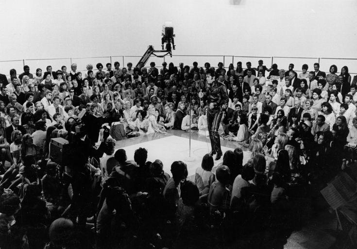 Elvis in concert on stage in Studio 4 - June 29, 1968. Photo courtesy 68 at 40- Retrospective, source FECC - Scotty Moore - NBC TV Studio Burbank