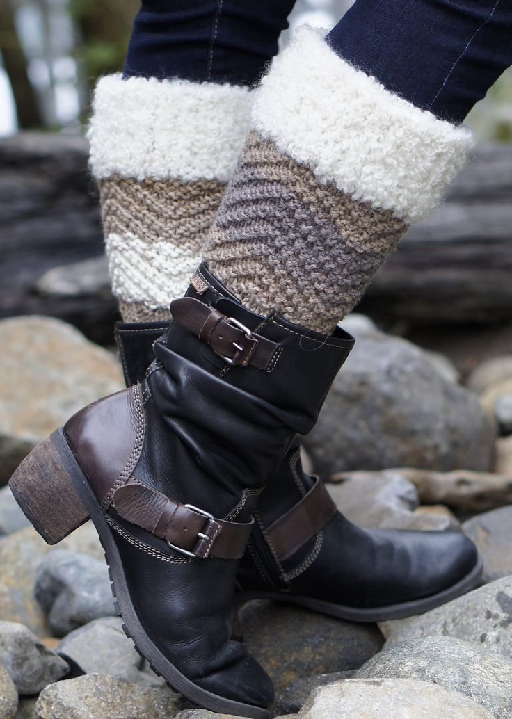 Free Knitting Pattern for Baa Baa Boot Cuffs - Boot toppers knit in 4-row repeat chevron zigzag with boucle yarn cuff trim. Designed by Betsy Reed for Skacel. Great with multi-color yarn.