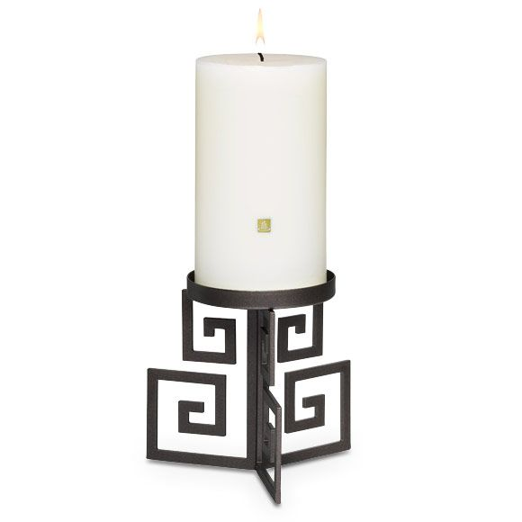 """OLYMPUS PILLAR HOLDER Item #:  P91292 Classic geometric motif is transformed into an artful, modern silhouette. Bronze-finished metal holder for use with a pillar candle, Escential jar, tealight or large tealight, sold separately. 4¼""""h, 4¾""""w. Sale! $6.00 each"""