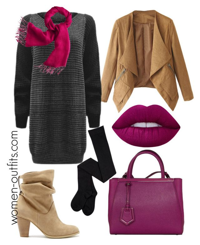 sweaterdress winter outfit by xwtiko on Polyvore featuring Sole Society, Fendi, Canvas by Lands' End and Lime Crime