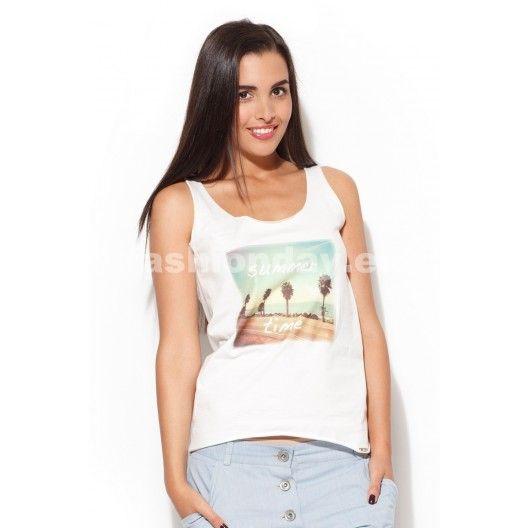 Dámske tričko v bielej farbe s nápisom summer time - fashionday.eu