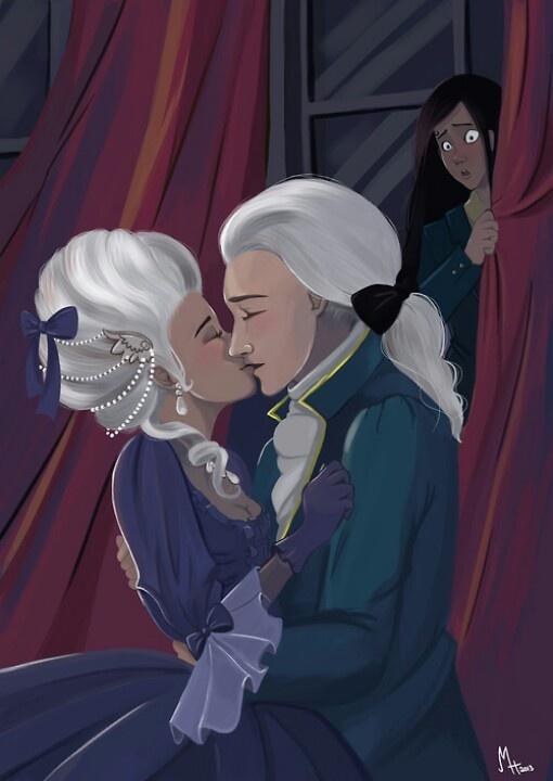 Gwen und Gideon in der Vergangenheit, Gwen im Hintergrund.