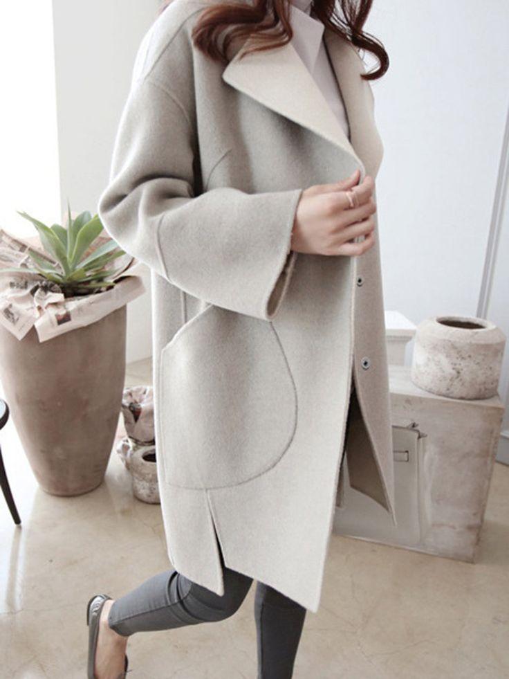 Wool Blend Turn Down Collar Casual Coats
