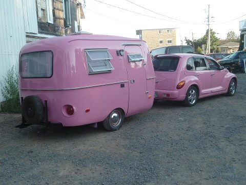 PT Cruiser  not really 'old style' but it's pink and cute and I love the trailer