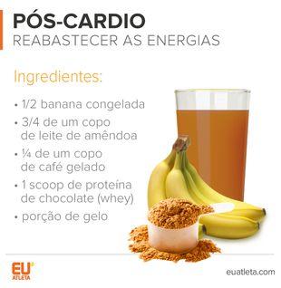 EuAtleta INFO-5+ Pós Cardio (Foto: Eu Atleta)  Após a prática de atividades físicas intensas, é preciso recarregar as energias. Para isto, é importante investir na banana, que equilibra os eletrólitos, ou seja, evita as cãibras. Também é importante apostar no consumo de proteínas para uma maior recuperação muscular. O toque final fica por conta do café, que ajuda a manter o metabolismo acelerado.