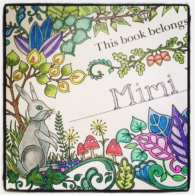 De-stressing with some art #zen #mindfulness #johannabasford #enchantedgarden #pageone #therapy #color #colour #ink #drawings #mimishealthyjourney #bunny #rabbit #coloringin #colouringin