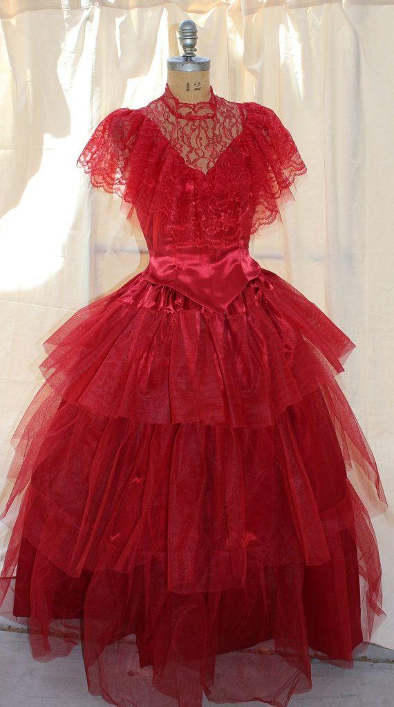 Lydia Deetz Red Wedding Dress BeetleJuice Sz 6 Med by DarkDetails