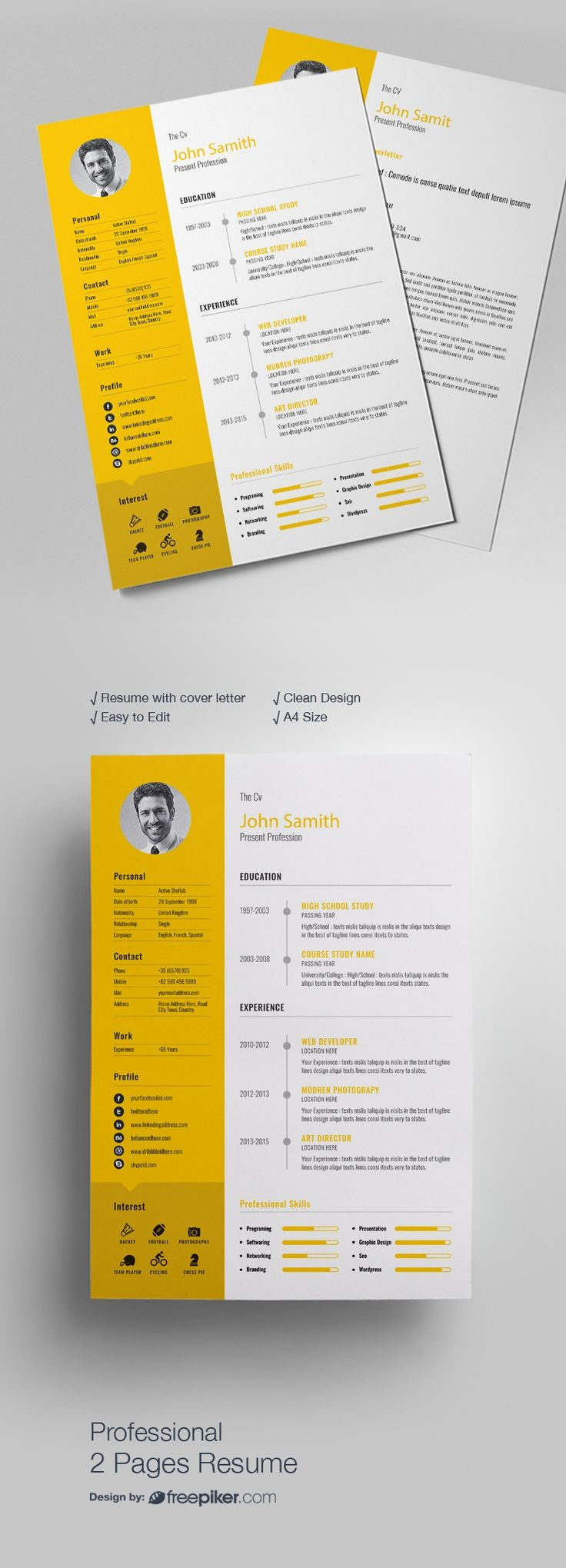 52 Best Resumes Images On Pinterest Logo Psd Design Resume And
