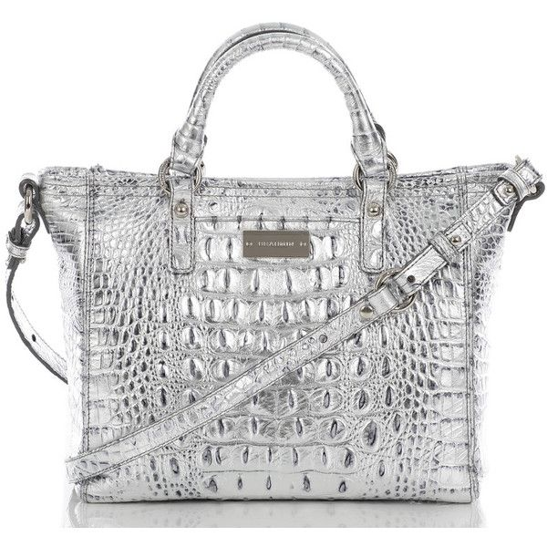 Brahmin Mini Arno Tote. Can't have a metallic trench without a metallic  handbag