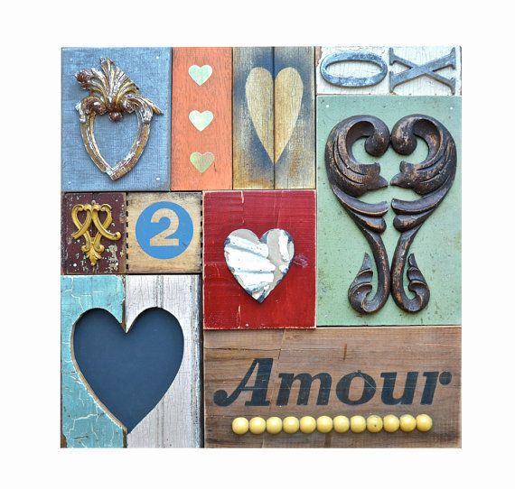 Love sign valentines amour primitive hearts on wood BIG original Heart Art by Elizabeth Rosen