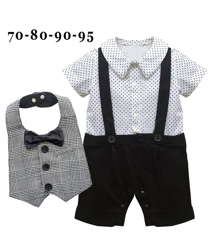 Free Shipping 4sets/lot Baby Boy's Formal Romper with Bib