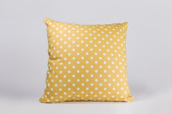 15 by 15 Yellow coin spot throw pillow cushion by detcraft on Etsy