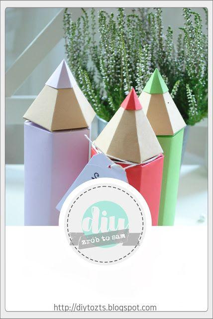 TUTORIAL - Pudełka Papierowe ołówki #DIY #TUTORIAL #PAPIER #HANDMADE #KREDKI