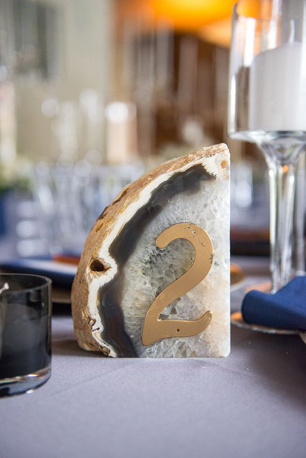 geode table number - photo by Sweet Root Village http://ruffledblog.com/winter-art-gallery-wedding
