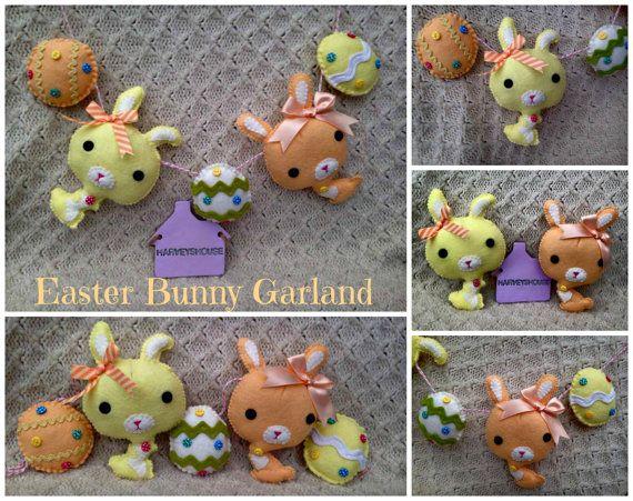 Easter Bunny Garland  Handmade Felt Pastel by HarveyshouseCrafts
