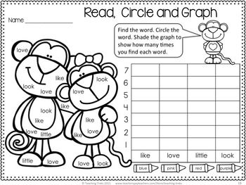 Valentine's Day Monkeys! FREE cute sight word graphing activity!