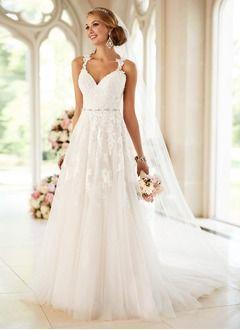 A-Linie/Princess-Linie Herzausschnitt Hof-schleppe Tüll Brautkleid mit Perlenst… – Inspiration A-Linie Herzausschnitt