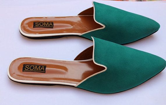 Colorful flats neon flats backless shoes slip on shoes by ShopSoma