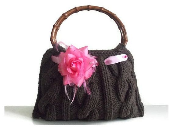 Cafe brown knitted JUBBJUBB handmade handbag small by PinKyJubb, $55.00