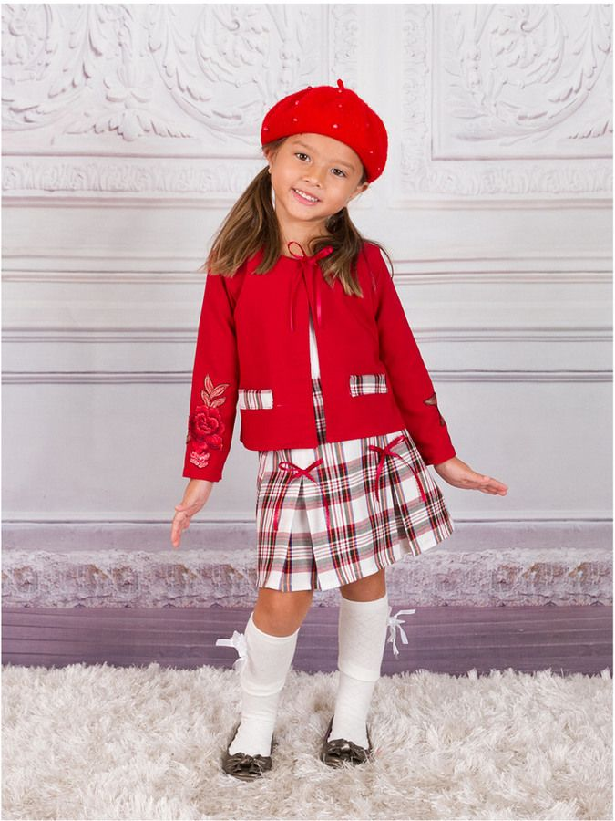 Mia Belle Girls' Black Heart Patch Blazer & Red Pleated Skirt Set