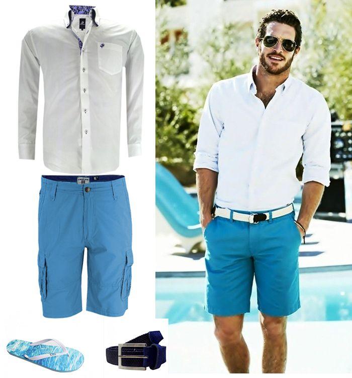 Zomers outfit idee. Inspiratie foto en soortgelijke grote maten heren outfit. Wit overhemd, blauwe shorts, blauw-witte flip-flops en een bijpassende riem.