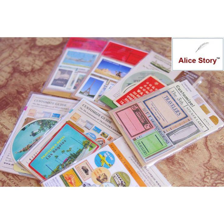 Midori Traveler notebook stamp sticker  travel notebooky vintage cowhide  Diary Album Scrapbooking Envelope Stationery Sticker