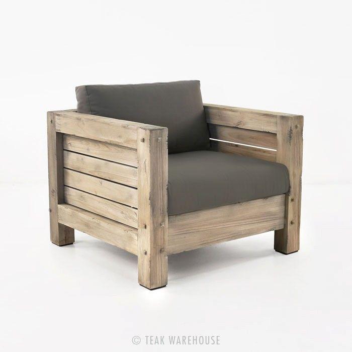 Lodge Outdoor Distressed Teak Club Chair - Teak Deep Seating - Deep Seating Collections