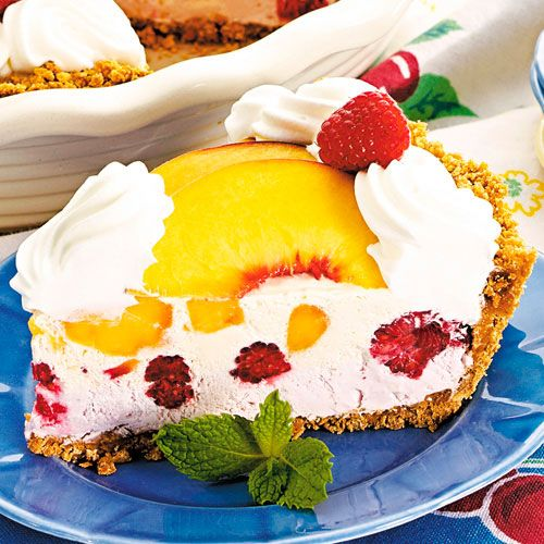 THIS DELIGHTFUL FROZEN DESSERT CAPTURES THE FLAVORS OF SUMMER IN A BEAUTIFUL WAY.  Shop now or join my team @ www.pamperedchef.biz/jmenting Join me on Facebook for more recipes, tips and ideas: https://www.facebook.com/JenniferMentingsPamperedChefPage/. Contact me to get some FREE. Frozen+Peach+Melba+Pie+-+The+Pampered+Chef®