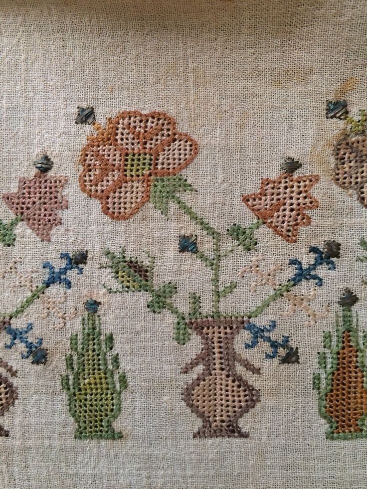19th C Antique Ottoman Turkish Hand Embroidery on Linen 'Sash'' | eBay