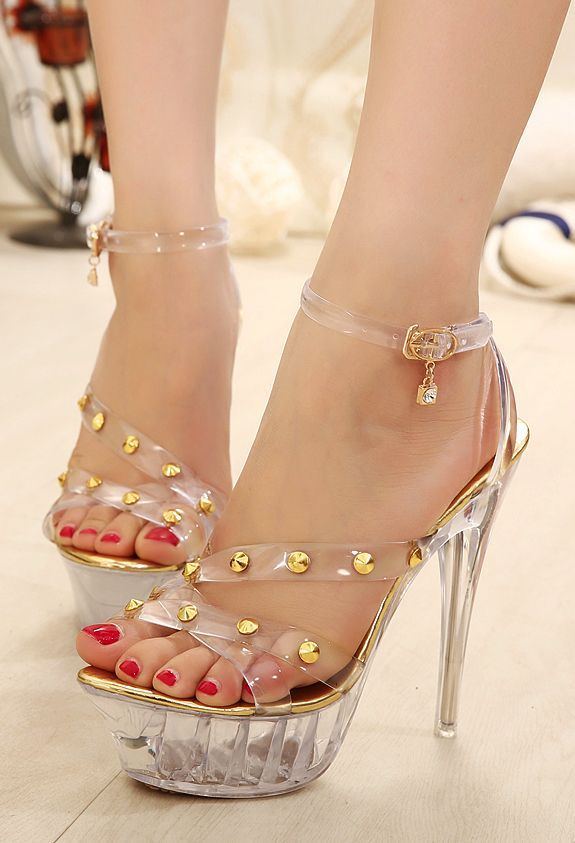 9041decabb616b Waterproof Transparent See Through Straps Stiletto 14 Cm High Heel Sandals  With Gold Rivets