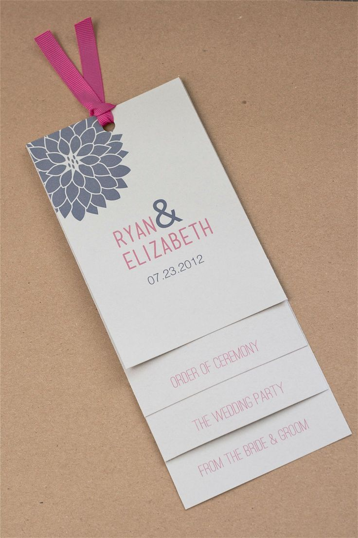 Custom Layered Dahlia Wedding Programs | Let us help you plan out all your wedding day details! www.PerfectDayWeddingPlanners.com