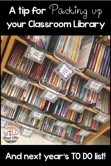 An organizational tip you may want to consider for next year.  If you have a classroom library of books that you let students borrow for reading, and you have to pack up all those books every summer so the custodian can lift up your book cases to wax your floors, than this tip is for you.