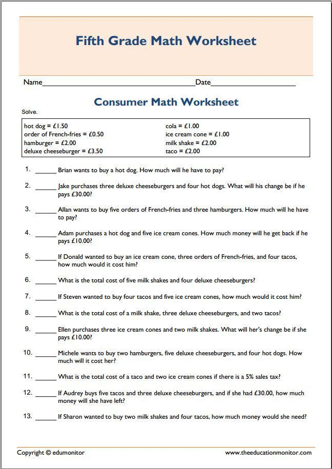 Consumer Math Worksheets 2 Consumer Math Math Worksheets Financial Literacy Worksheets