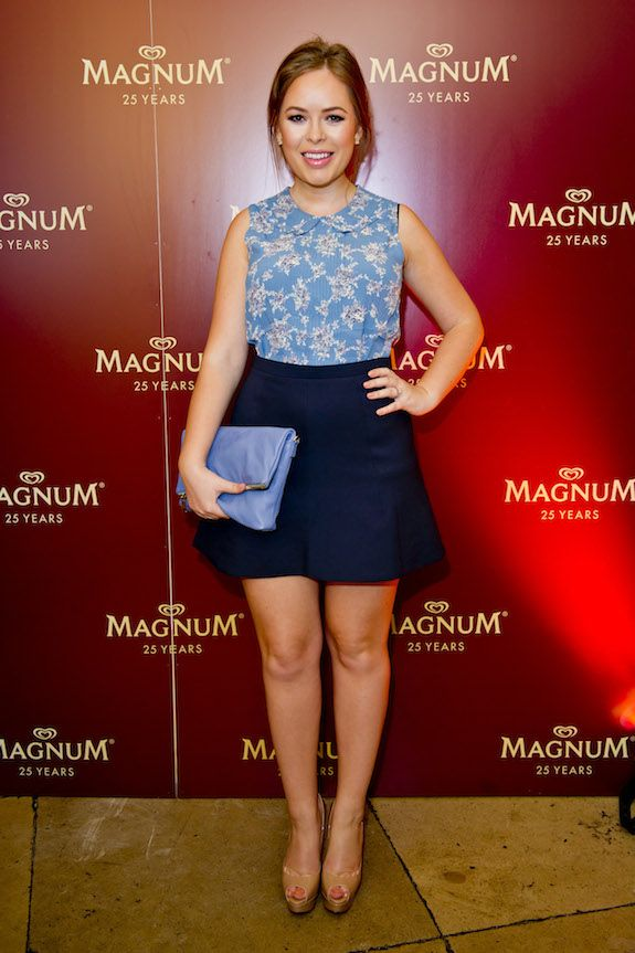 Tanya Burr doing Peter Pan collar prep at the House of  Holland x Magnum party