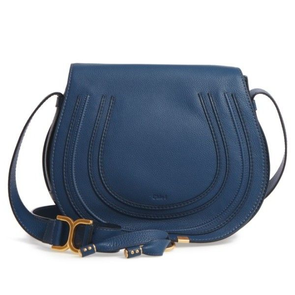Women's Chloe 'Marcie - Medium' Leather Crossbody Bag ($1,490) ❤ liked on Polyvore featuring bags, handbags, shoulder bags, royal navy, blue leather purse, navy blue leather handbags, crossbody purses, leather handbags and navy blue crossbody